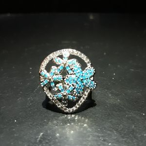 Natural Turquoise Floral Ring t10